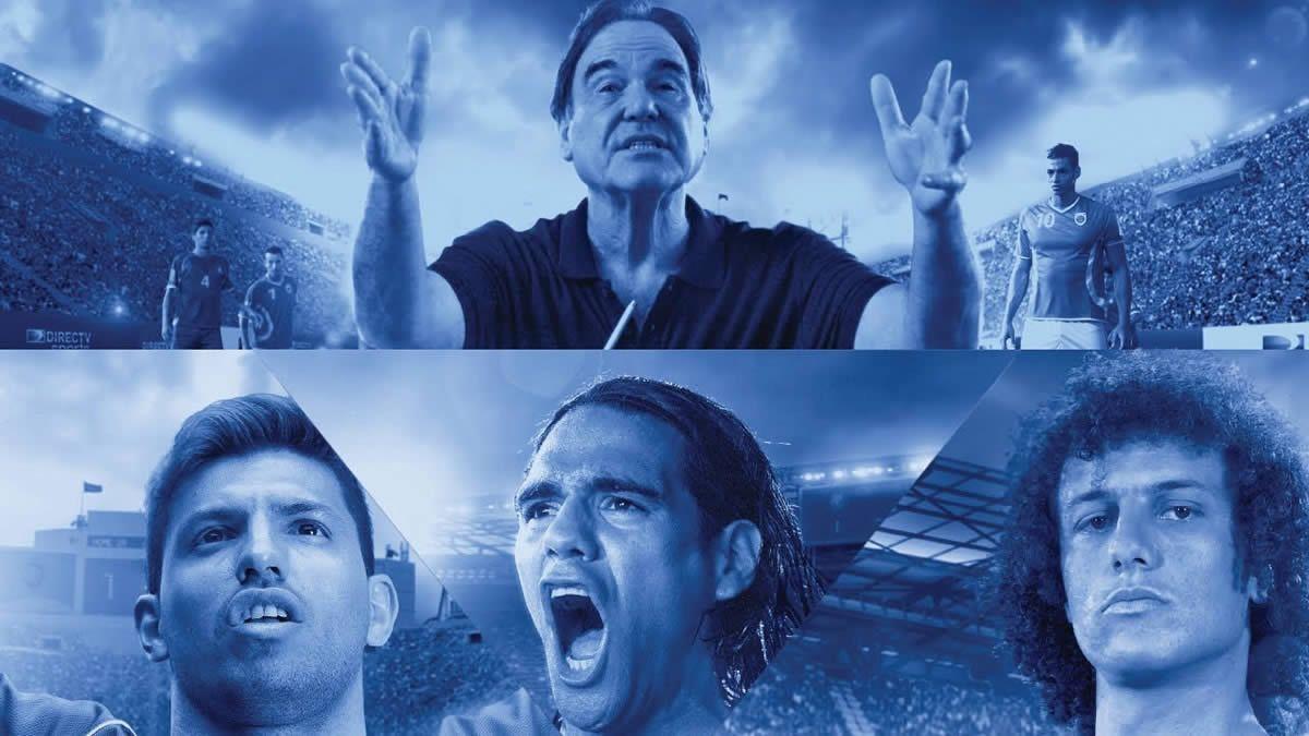 Oliver Stone, Kun Aguero, Falcao y David Luiz para Directv