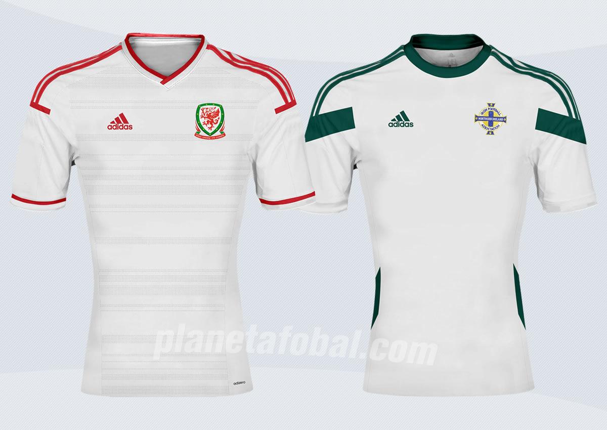 Camisetas suplentes de Gales (izq) e Irlanda del Norte (der) | Imagenes JD Sports