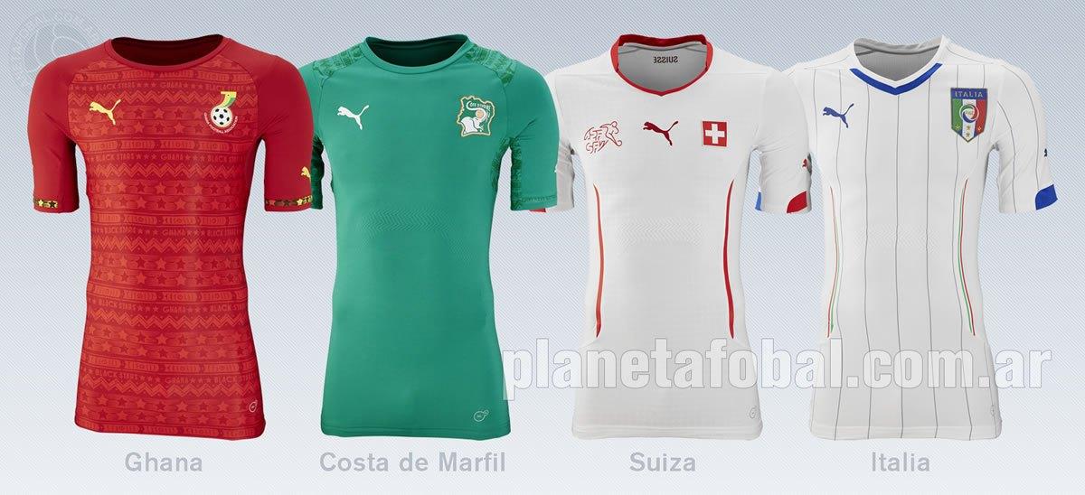 Camisetas Ghana, Costa de Marfil, Suiza e Italia | Foto Puma