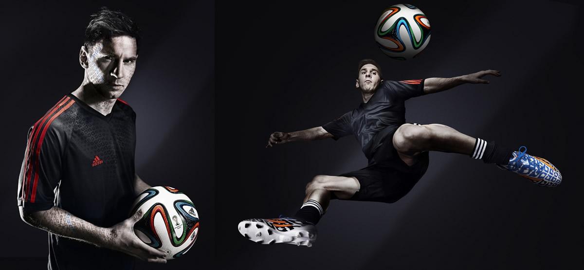 Messi posa con Brazuca y sus F50 Adizero | Imágenes Adidas