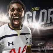 Adebayor con la nueva camiseta titular Under Armour de Tottenham | Foto web oficial