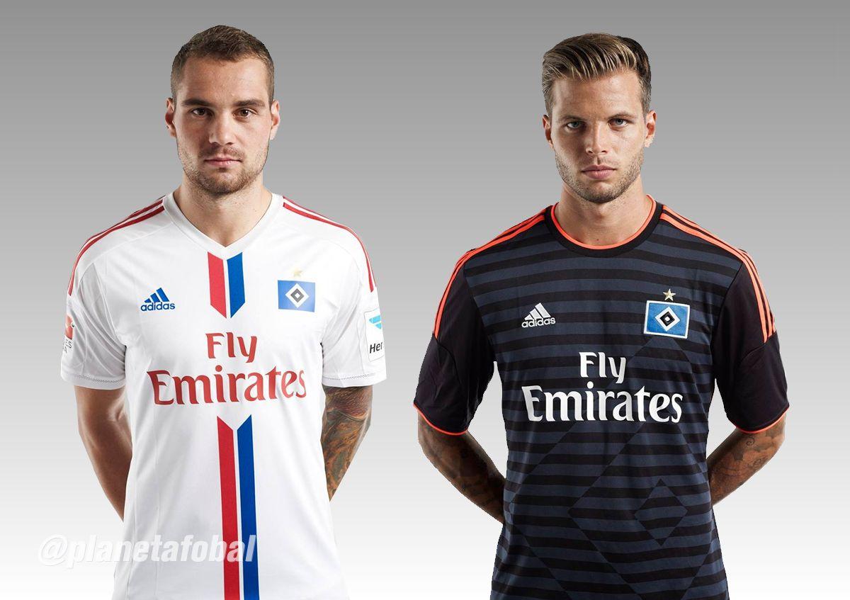 Lasogga (titular) y Diekmeier con las nuevas camisetas | Imagenes web HSV
