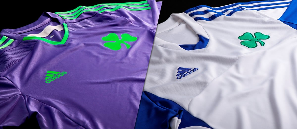 Camiseta suplente (izquierda) y tercera (derecha) de Panathinaikos | Foto Adidas