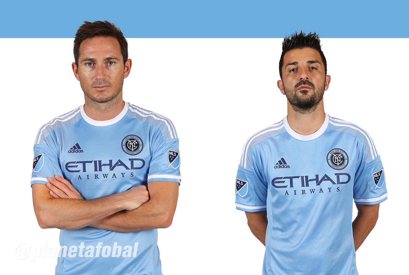 David Villa y Frank Lampard con la camiseta que usarán en 2015 | Foto New York City FC