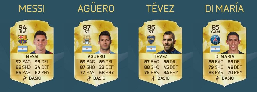 Messi, Agüero, Tevez y Di Maria en el Top 50 | Imagen EA Sports