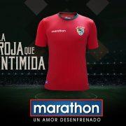 Nueva camiseta roja de Bolivia | Foto Marathon Sports