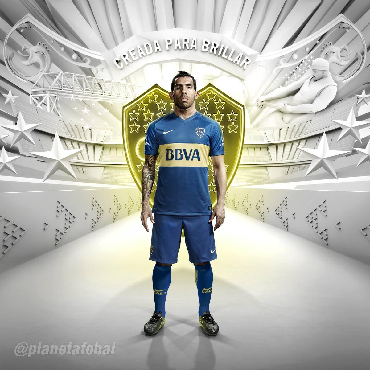 Tevez con la nueva casaca de Boca   Foto Nike