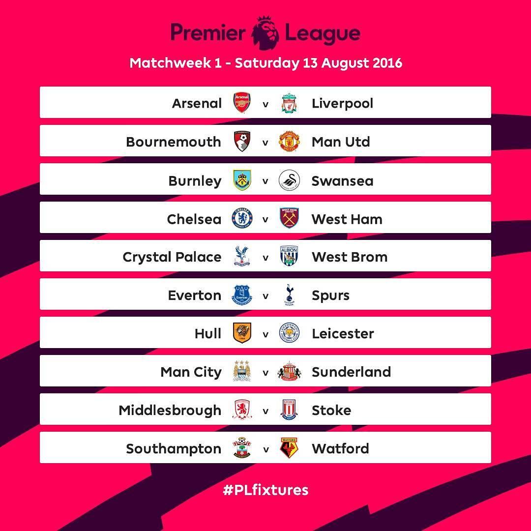 Así se jugará la primera fecha | Foto Instagram Premier League