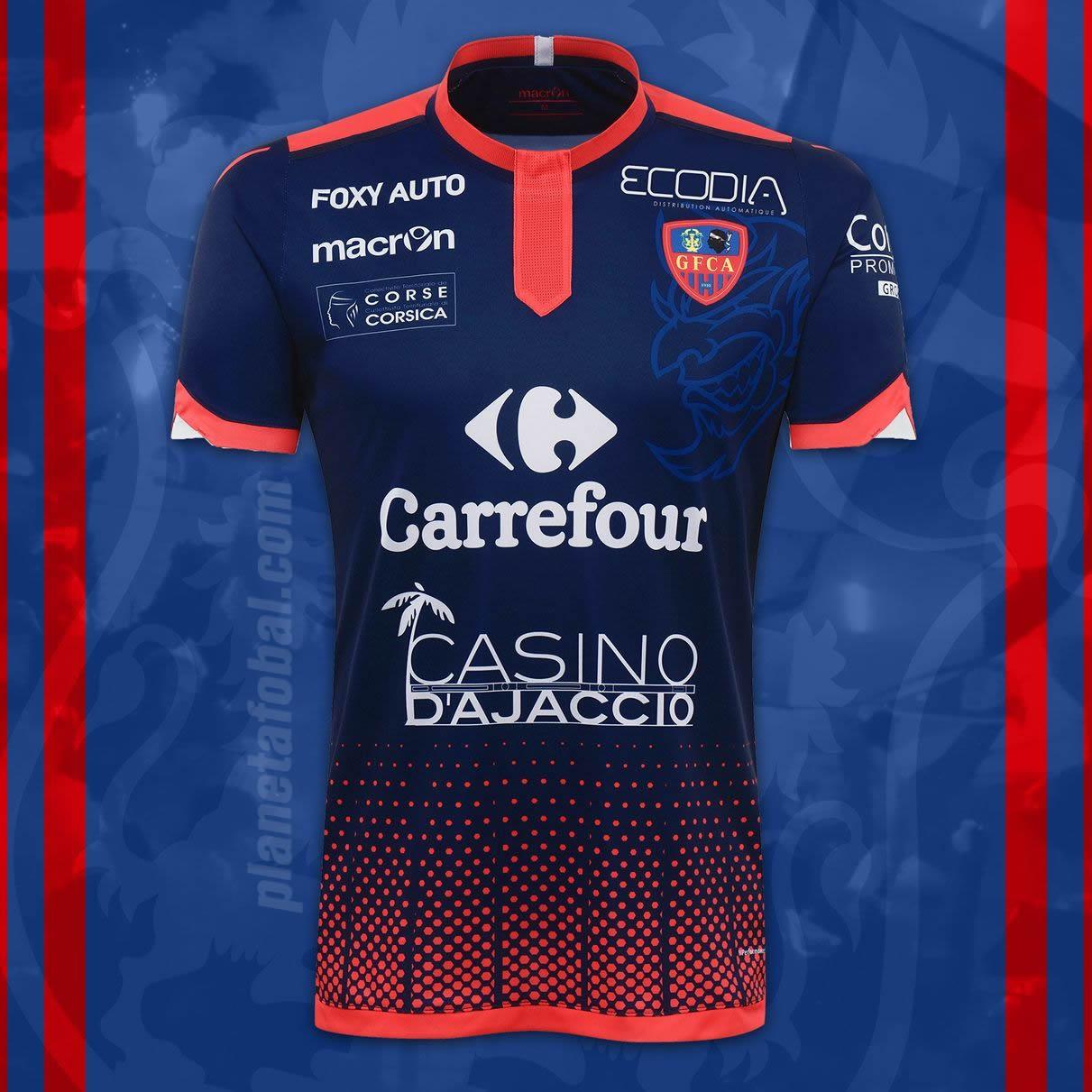 Camiseta suplente Macron del Gazélec Ajaccio para 2016/2017 | Foto web oficial