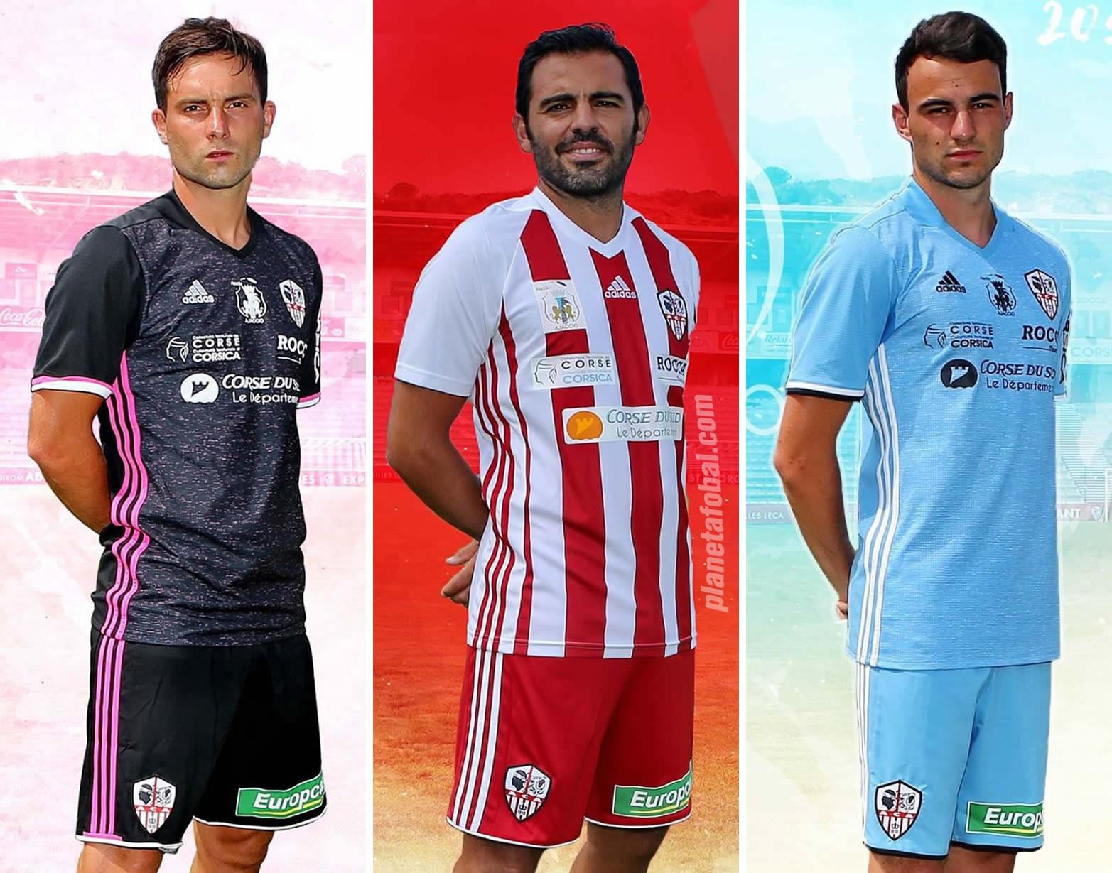 Nuevas camisetas Adidas 2017-18 del Ajaccio | Imágenes Web Oficial