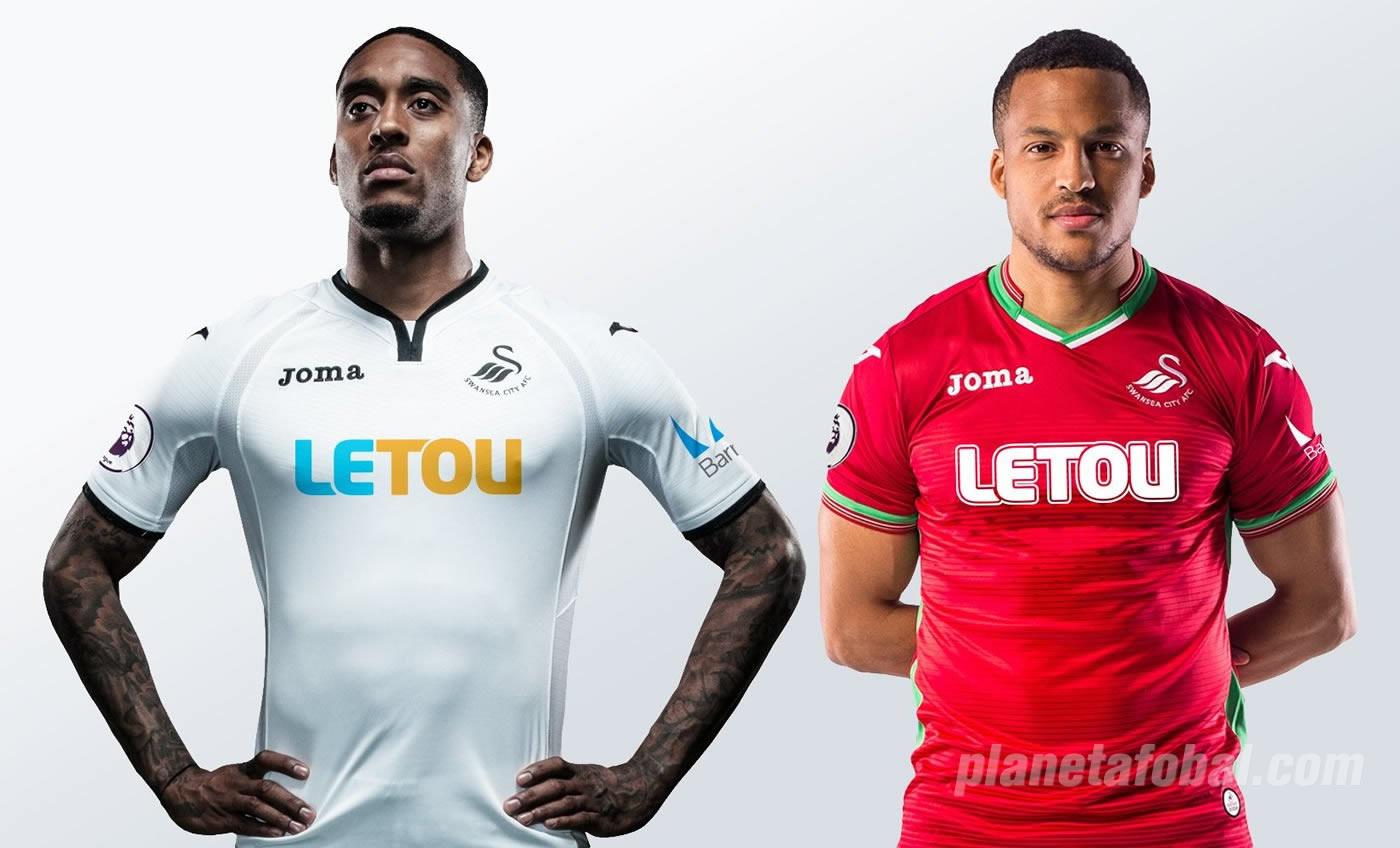 Fer y Olsson con las nuevas camisetas del Swansea City | Imágenes web oficial