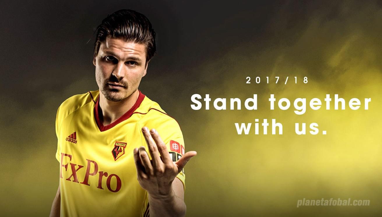 Camiseta titular Adidas 2017-18 del Watford | Foto Web Oficial