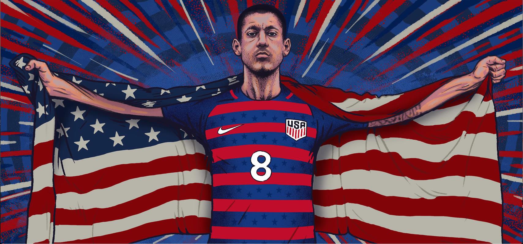 Dempsey con la camiseta de Estados Unidos para la Copa Oro 2017 | Ilustración Nike