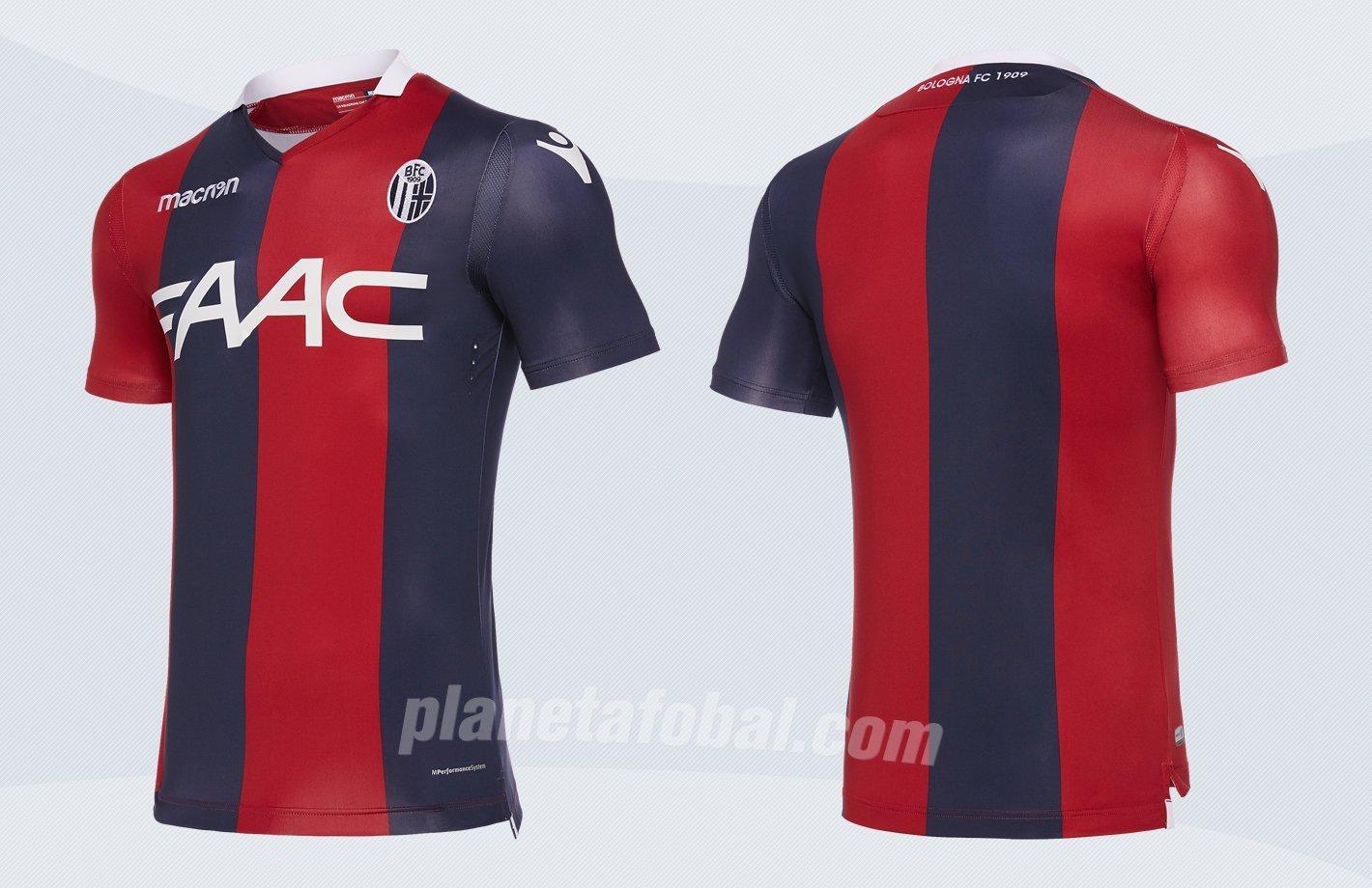 Camiseta titular 2017-18 del Bologna FC | Imagen Macron