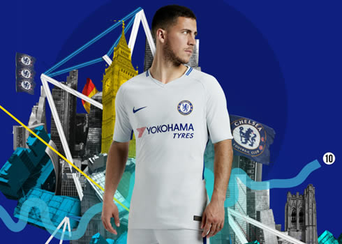 Eden Hazard con la camiseta suplente 2017-18 del Chelsea FC | Foto Nike