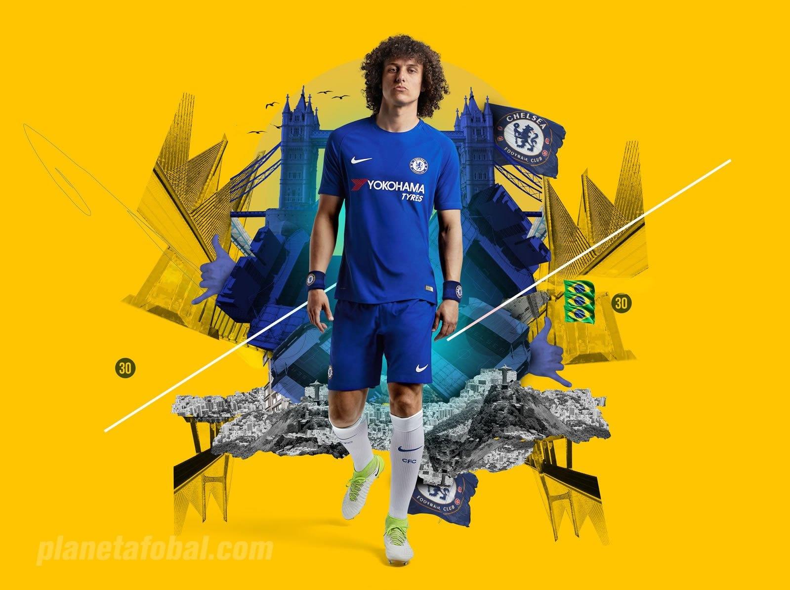 David Luiz con la camiseta titular 2017-18 del Chelsea FC | Foto Nike
