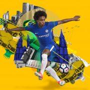 Willian con la camiseta titular 2017-18 del Chelsea FC | Foto Nike