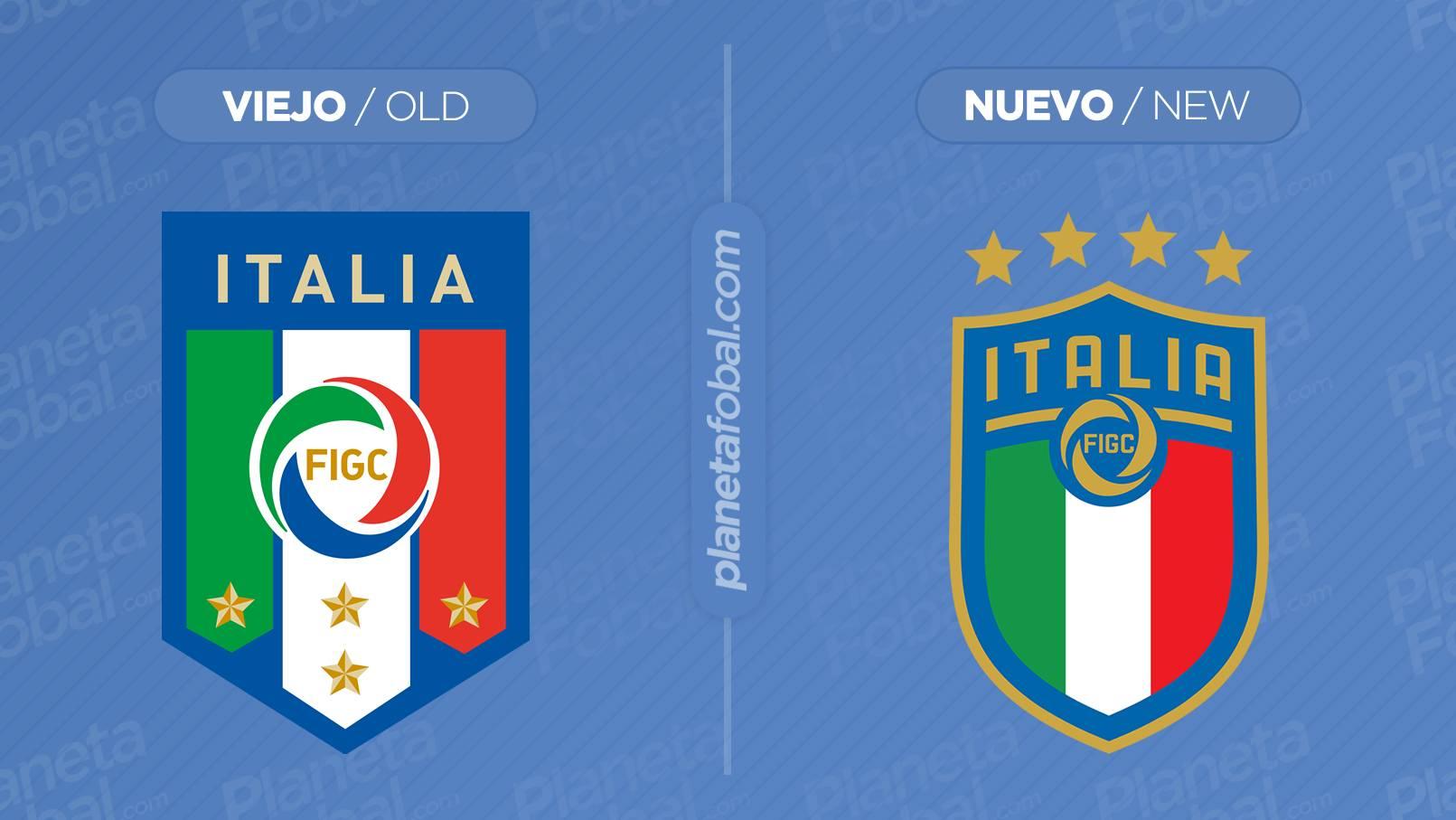 El antes y después del logo de la FIGC