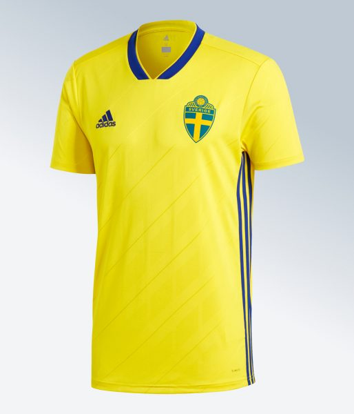 Camiseta titular 2018 de Suecia | Imagen Adidas