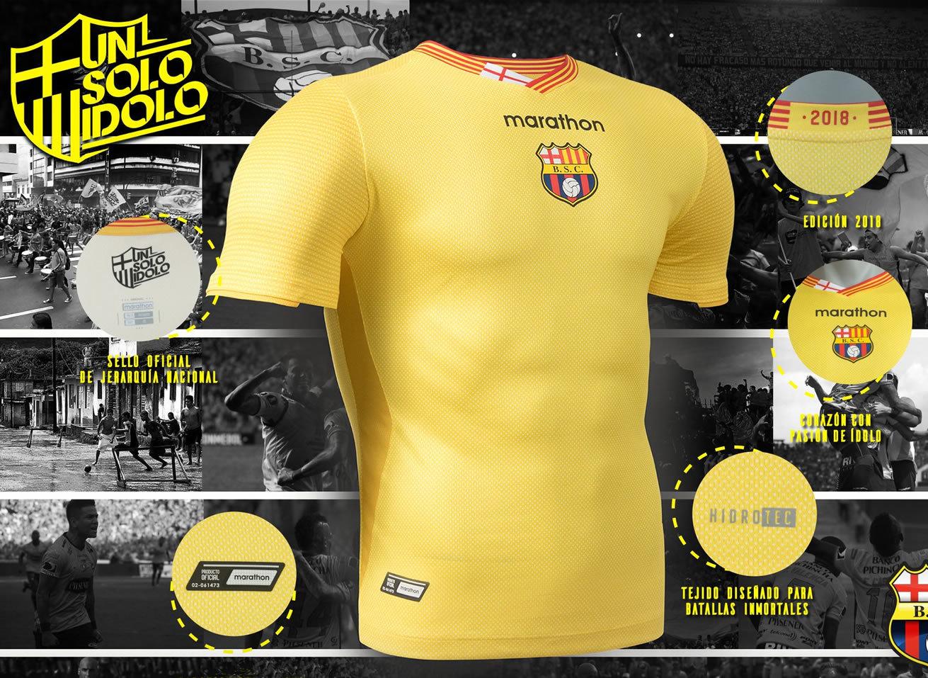 Camiseta titular 2018 del Barcelona SC   Foto Marathon