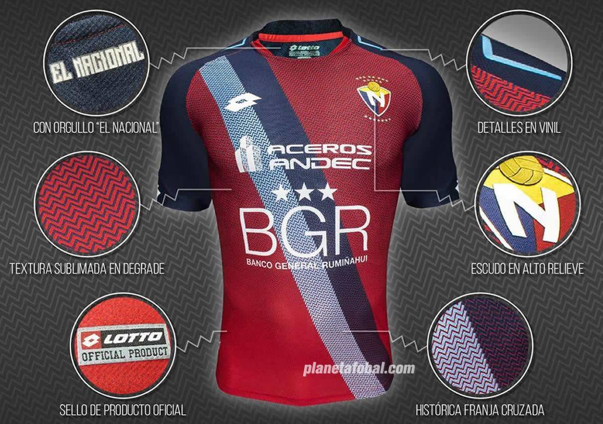 Camiseta titular Lotto de El Nacional | Foto Web Oficial