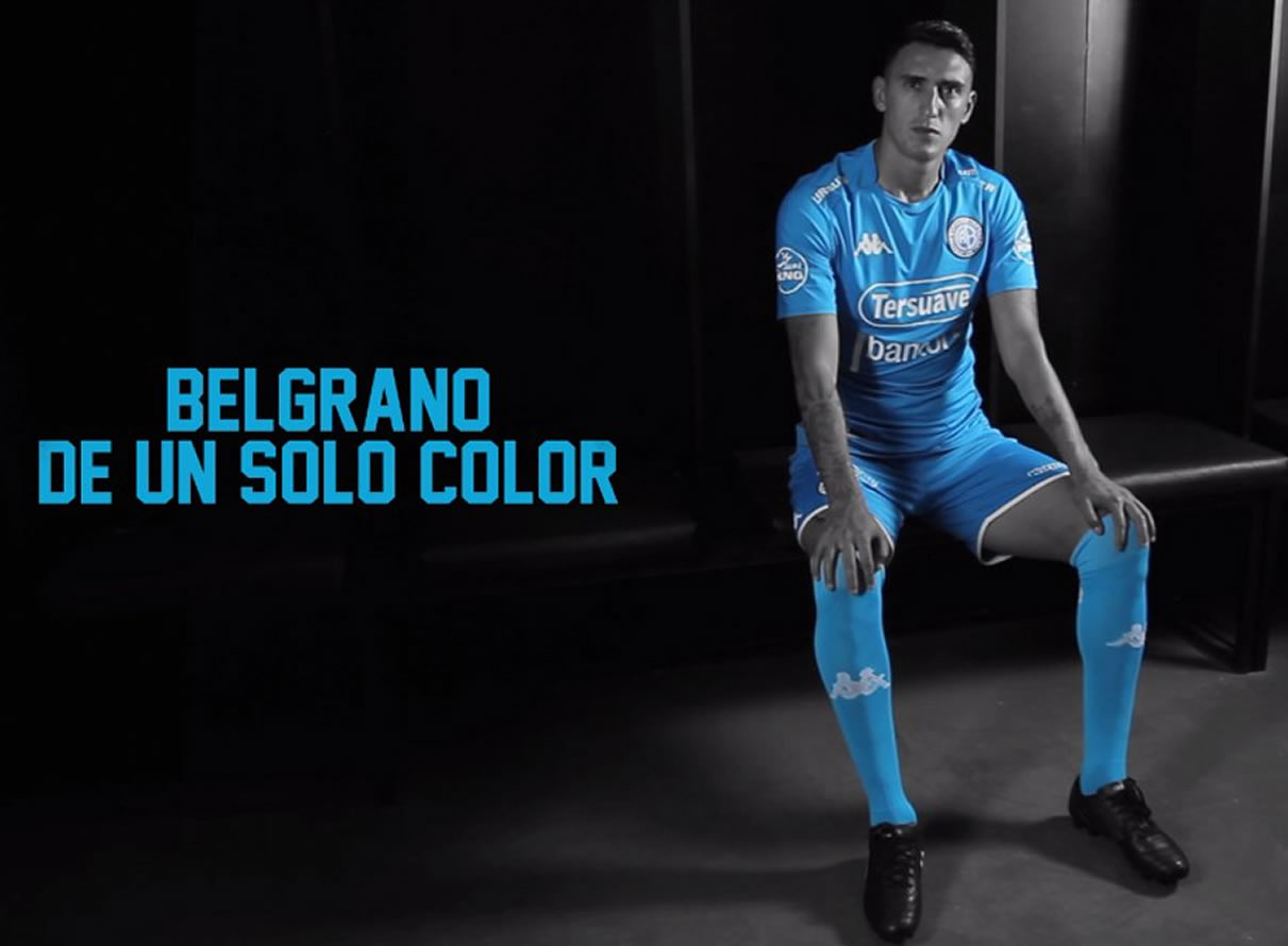 Matías Suárez con la nueva camiseta Kappa de Belgrano de Córdoba   Foto Web Oficial