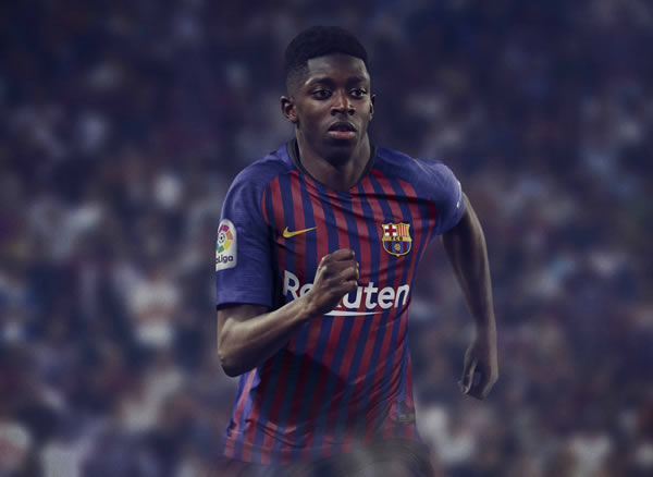 Ousmane Dembélé con la nueva camiseta titular del FC Barcelona 2018/19 | Imagen Nike