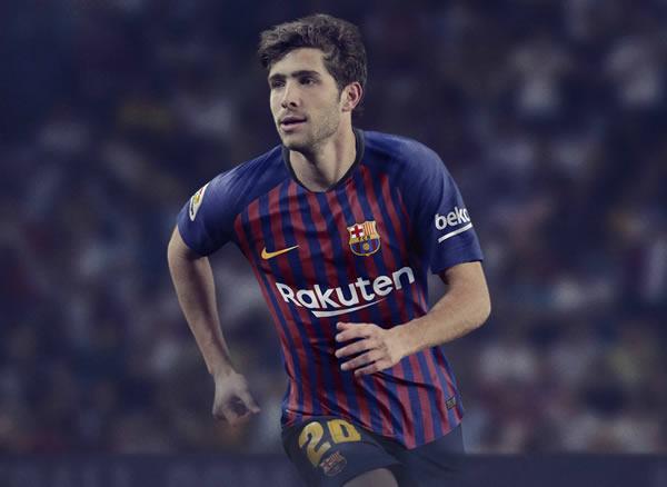 Sergi Roberto con la nueva camiseta titular del FC Barcelona 2018/19 | Imagen Nike