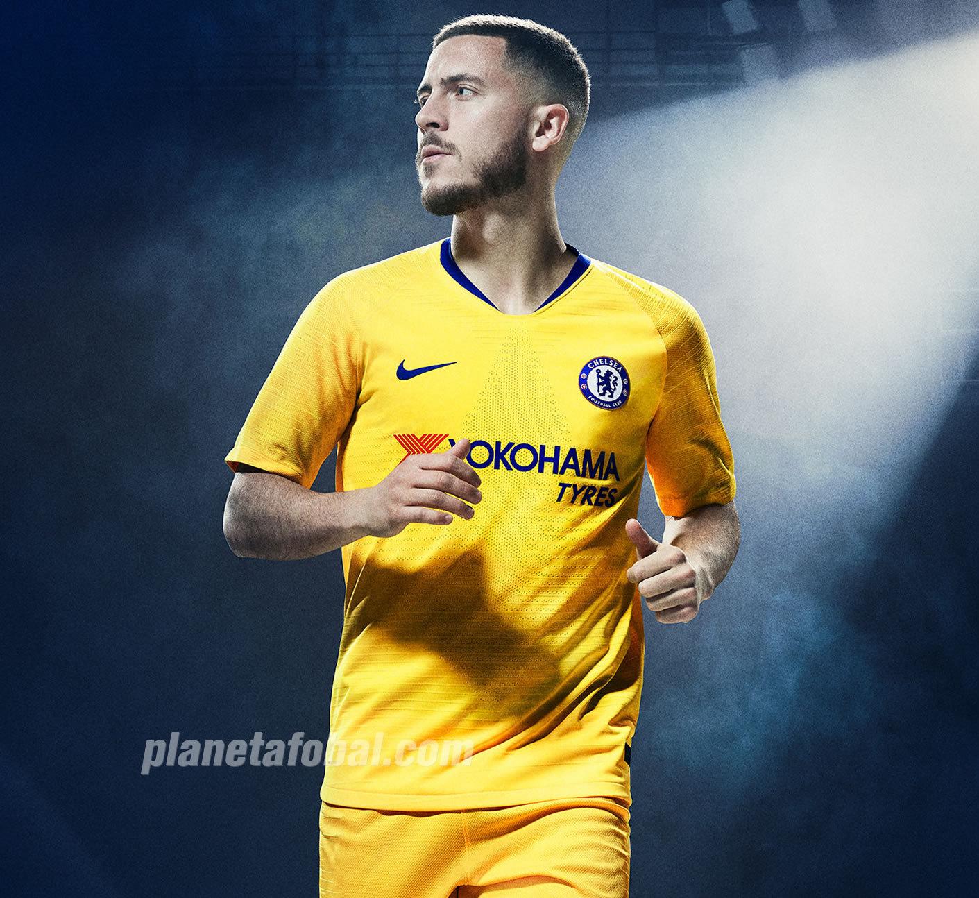 Eden Hazard con la camiseta suplente amarilla del Chelsea | Imagen Nike