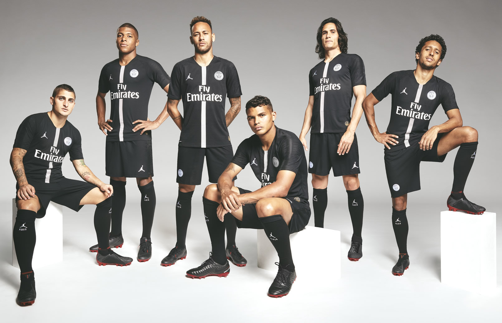 Los jugadores con los botines Jordan Brand x Paris Saint-Germain | Imagen Nike