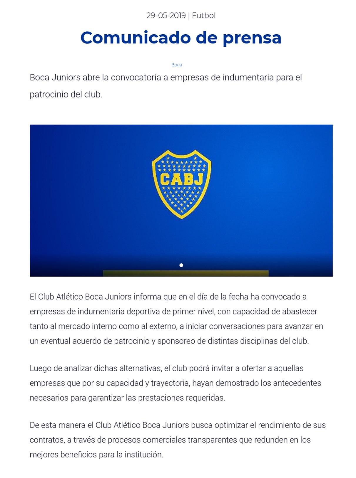 Boca Juniors convoca a empresas de indumentaria | Captura Portal Oficial