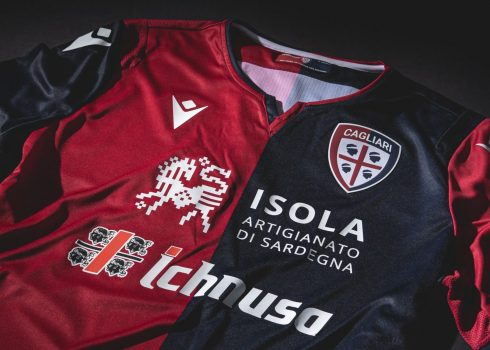 Camisetas Macron del Cagliari 2019/20 (Titular)   Imagen Web Oficial