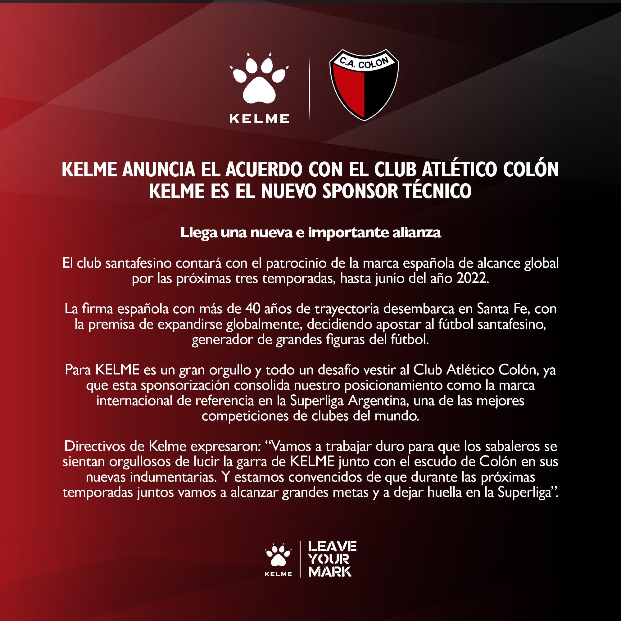 Kelme nuevo sponsor técnico de Colón de Santa Fe | Imagen Instagram Oficial