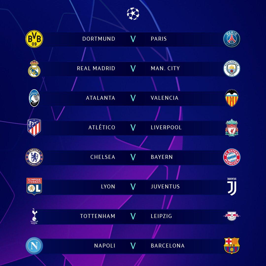 Cruces de octavos de final de la Champions League 2019/20 | Imagen UEFA