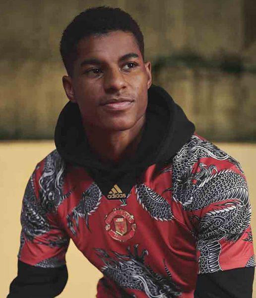 Marcus Rashford con la camiseta dragón del United | Imagen Adidas