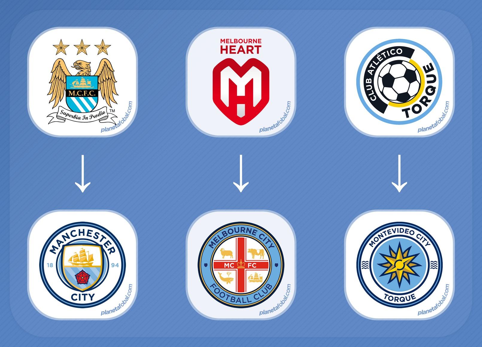 Los escudos antes y después del City Football Group