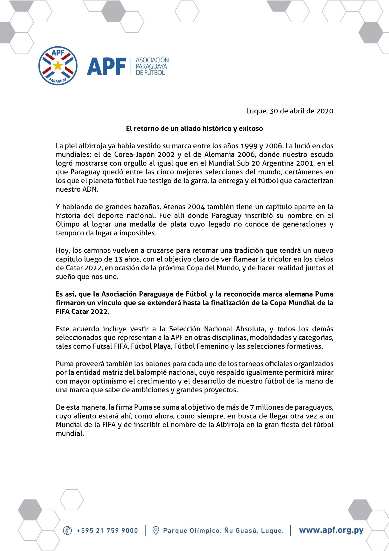 Comunicado oficial de la APF | Imagen Web Oficial