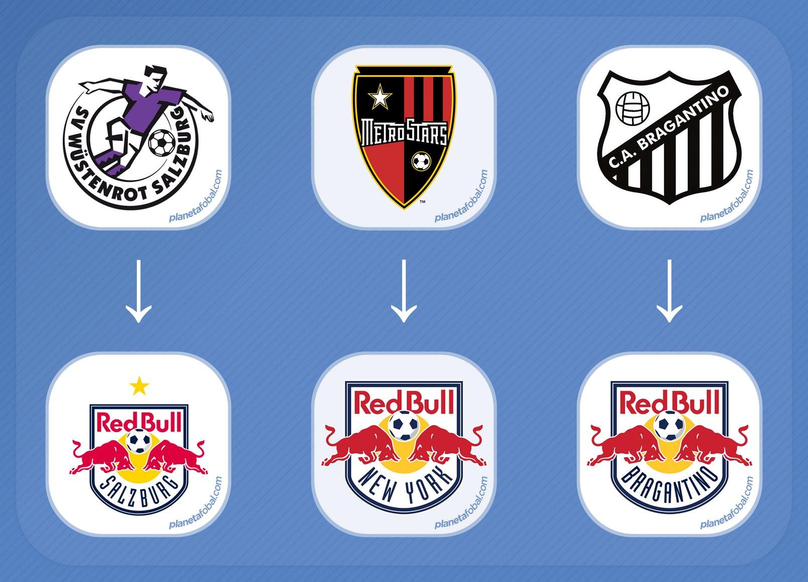 Los escudos antes y después de integrar el grupo Red Bull