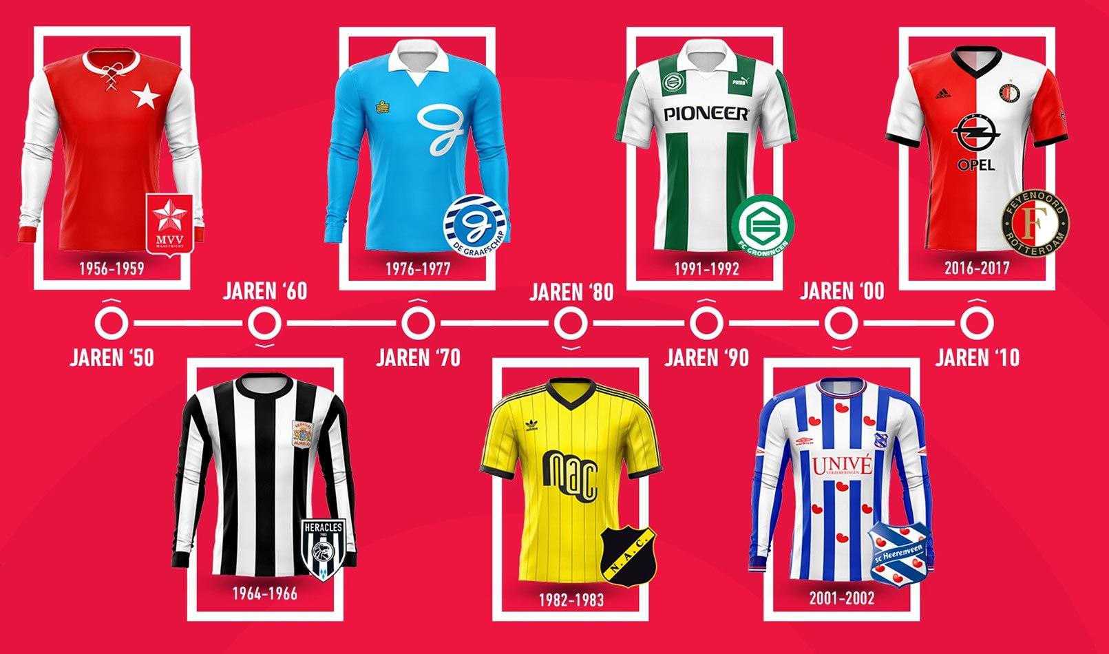 Las mejores camisetas por década en el fútbol neerlandés | Imagen Eredivisie
