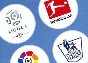 Antes y después de los logos de las 5 grandes ligas de Europa