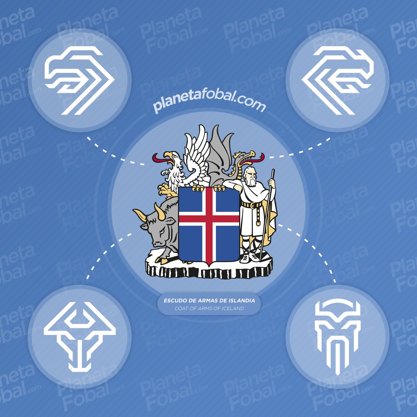 Está inspirado en el escudo de armas de Islandia