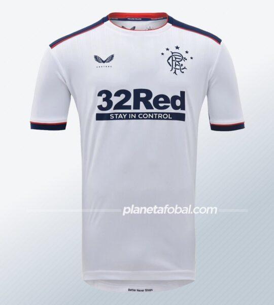 Camiseta suplente Castore del Rangers FC 2020/21 | Imagen Web Oficial