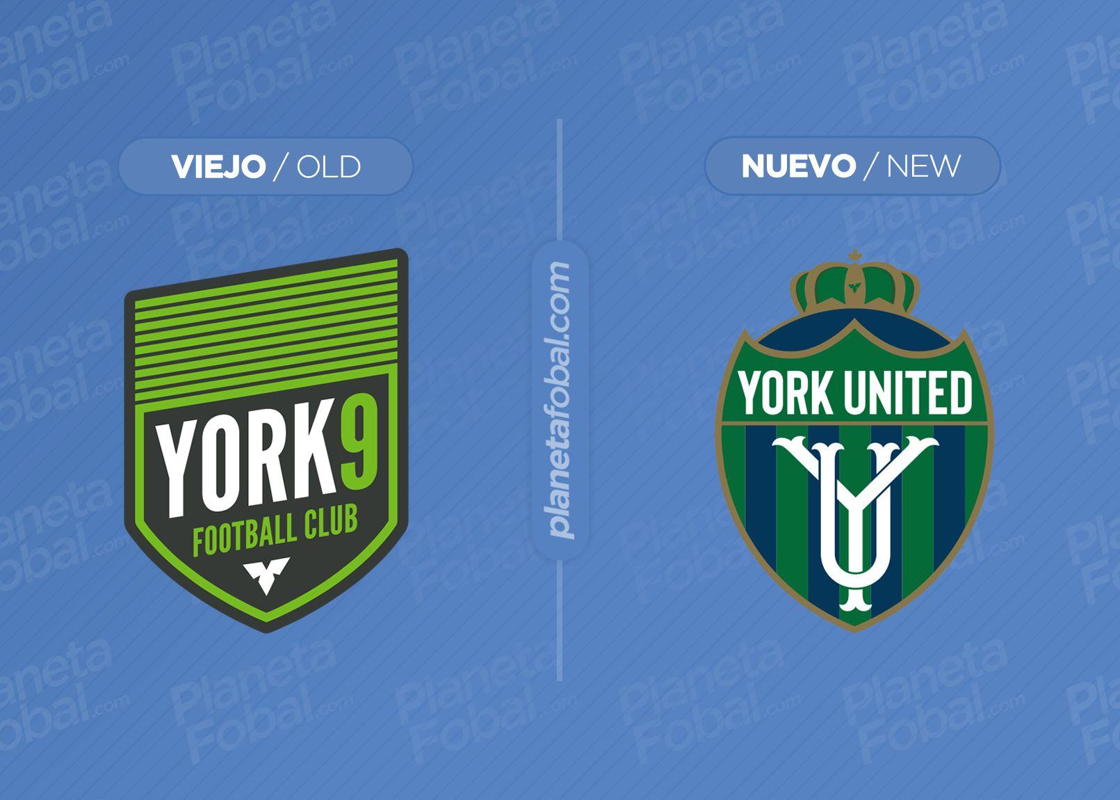 Escudo anterior del York9 FC y el nuevo del York United Football Club | Imagen Web Oficial
