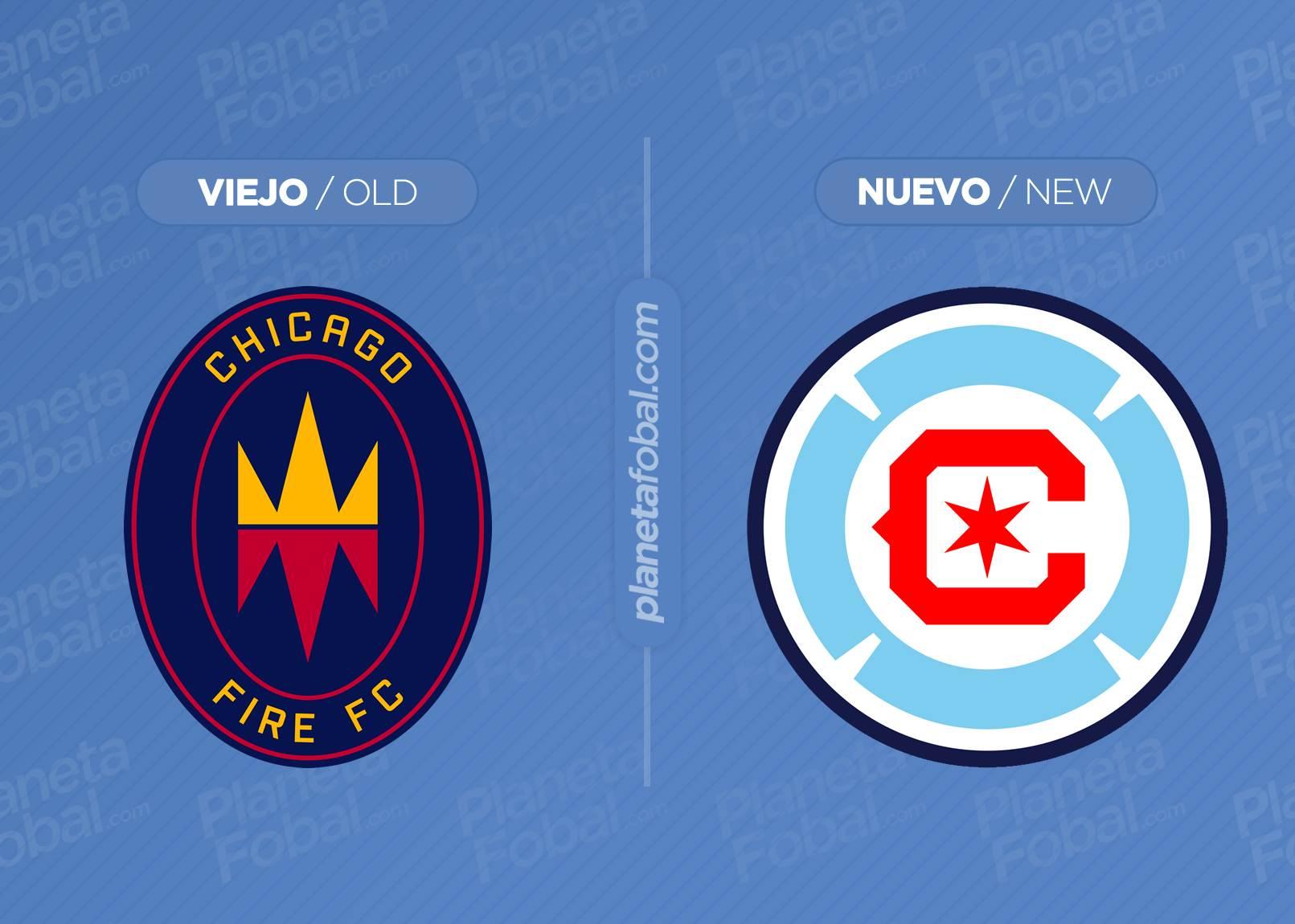 Antes y después del escudo del Chicago Fire