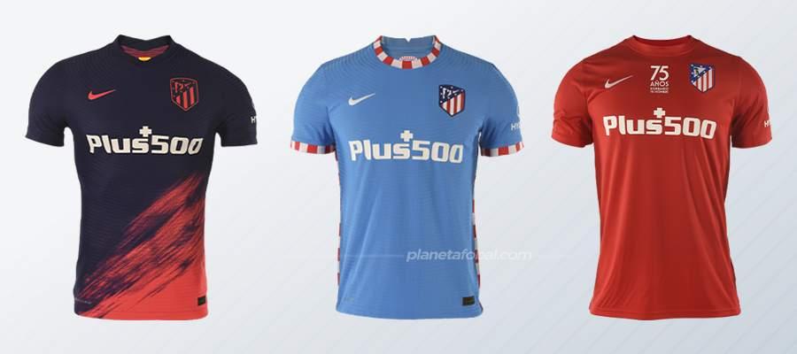 Segunda, tercera y cuarta equipación del Atlético de Madrid 2021/22